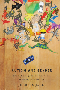 A photograph of the book cover for Autism and Gender. The cover features a pile of colorful toys, with one blue car that is slightly separated from the pile of toys.
